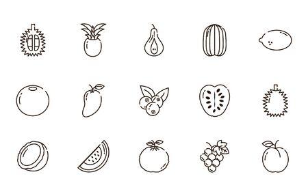 fresh nutrition harvest fruits icons set line style vector illustration Ilustracja