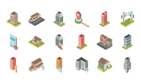 isometric buildings real estate location icons set
