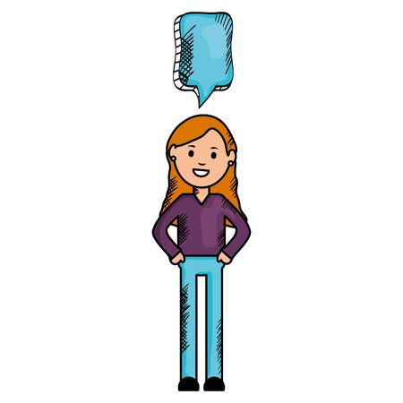 young woman with speech bubble avatar character Ilustrace