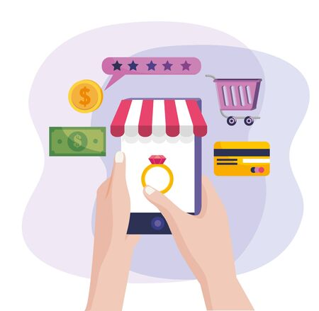 hands with smartphone technology to online buy and sale