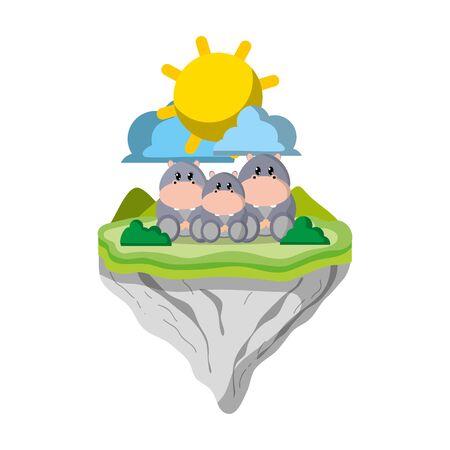 family hippopotamus animal in float island Ilustração