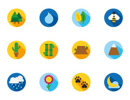 four season weather related block icons set