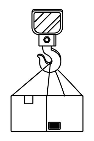 box with crane hook in black and white