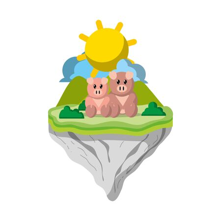couple pig animal in float island