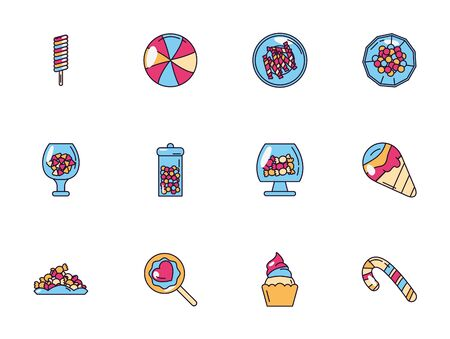 sweet dessert jar candy and pastry icons set Archivio Fotografico - 133362057