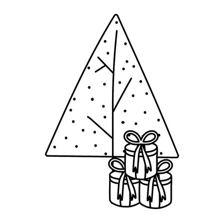 tree with gift boxes celebration merry christmas thick line Ilustracja
