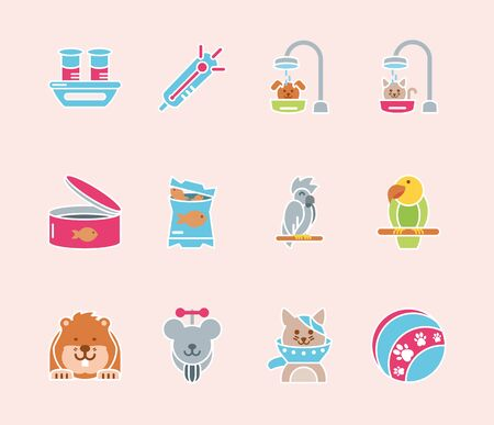 pet shop grooming food vet care icons set vector illustration