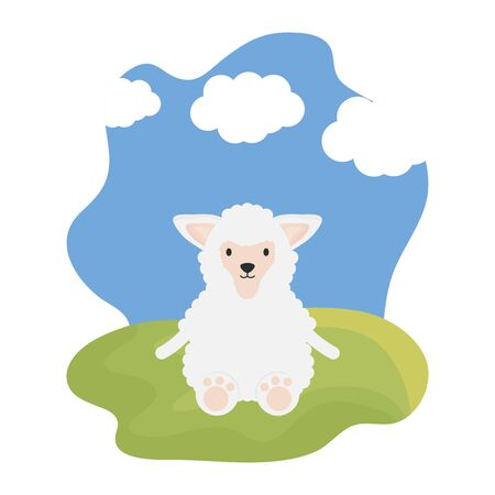 cute sheep in the camp childish character Illustration