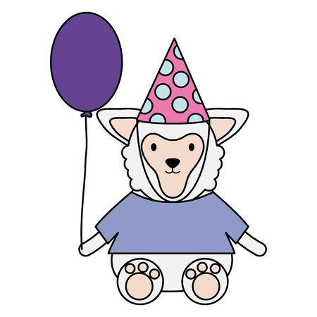 cute sheep with balloon helium in birthday party Illustration