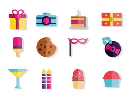 happy birthday celebration decoration icons set Archivio Fotografico - 133362134