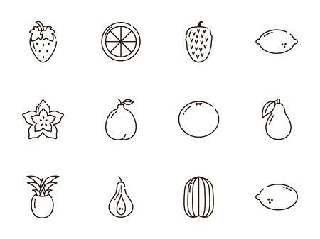 fresh nutrition harvest fruits icons set line style Illustration