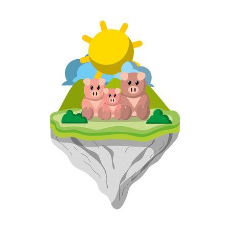 family pig animal in float animal