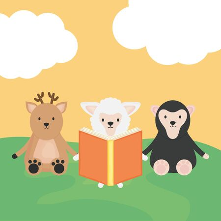 cute group animals childish characters Illustration