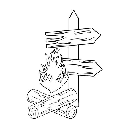wooden arrow guide with campfire