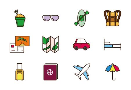 tourism vacations travel related icons set vector illustration