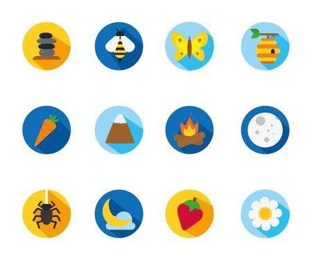 four season weather related block icons set Zdjęcie Seryjne - 133362504