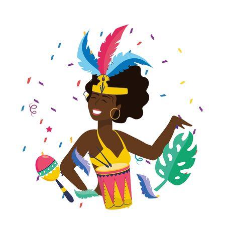 woman celebrating brazil carnival Иллюстрация