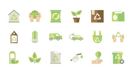 ecological green energy icons collection