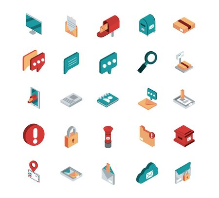 correspondence postal mail isometric icons set vector illustration