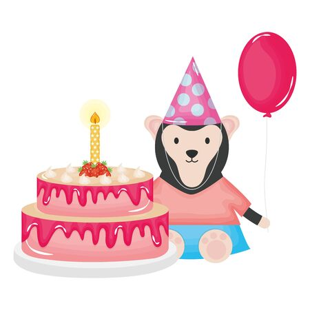 cute monkey with sweet cake in birthday party vector illustration design