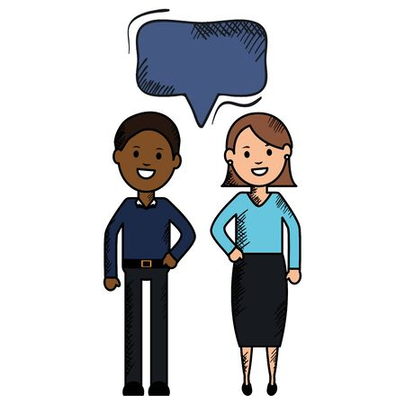 interracial couple with speech bubbles avatars characters
