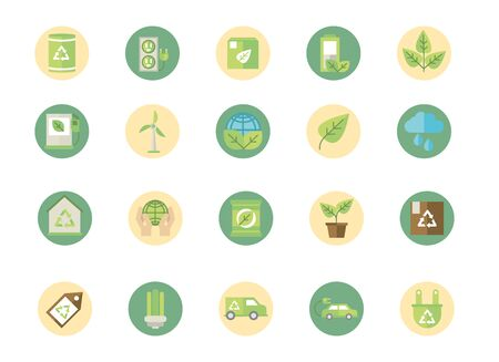 ecological green energy block icons collection vector illustration