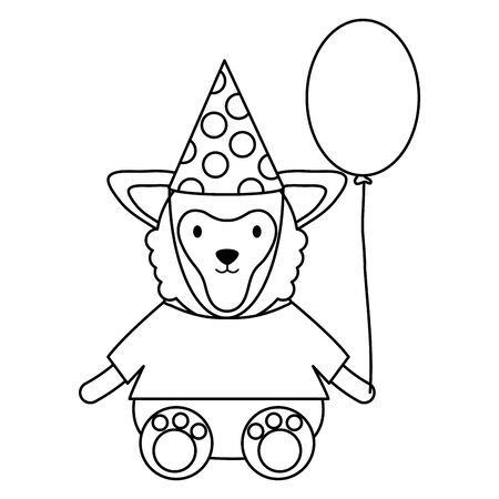cute sheep with balloon helium in birthday party vector illustration design
