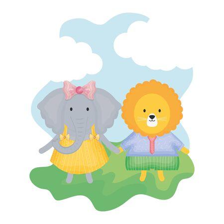cute female elephant with lion vector illustration design