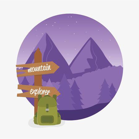 wanderlust label with landscape and travelbag scene Reklamní fotografie - 132997418