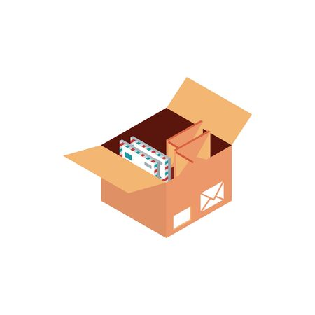 box with envelopes letters correspondence postal mail isometric