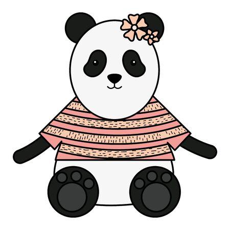 cute female bear panda childish character