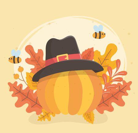 happy thanksgiving pumpkin pilgrim hat celebration