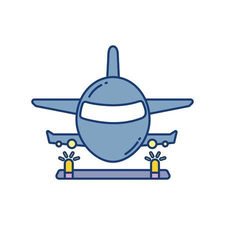 landing plane over runway travel aviation transport airport