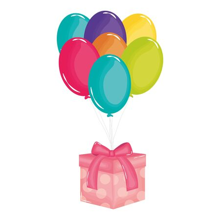 gift box with balloons air floating 스톡 콘텐츠 - 133556177