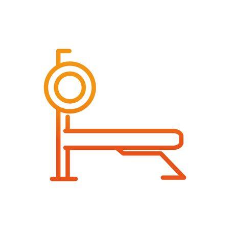 bench press exercise sport fitness gradient line vector illustration