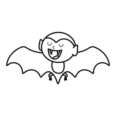 flying dracula character trick or treat happy halloween vector illustration line style