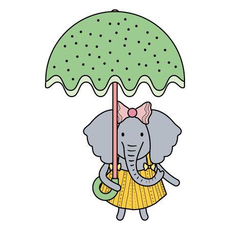 cute female elephant with umbrella
