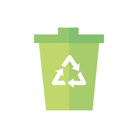 trash can recycle green energy icon