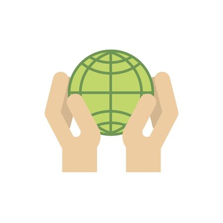 hands with green world energy icon vector illustration Ilustração