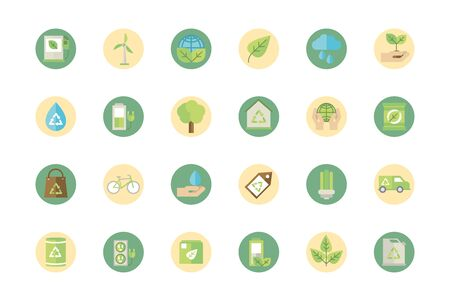 ecological green energy block icons collection Illusztráció