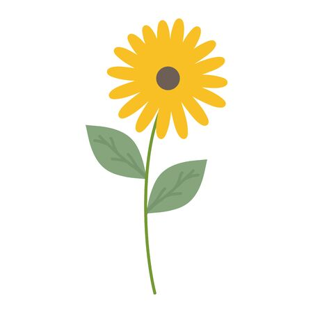cute sunflower and leafs garden plant decorative icon