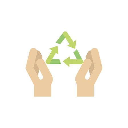 hands recycle environment green energy icon vector illustration