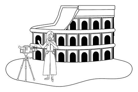 Broadcasting reportage design, News media communication journalism information and digital theme Vector illustration 版權商用圖片 - 133001089