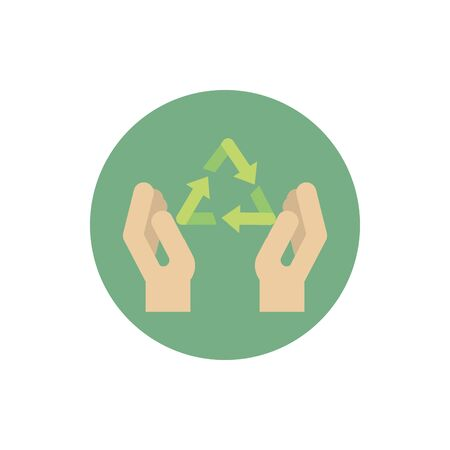 hands recycle environment green energy block icon vector illustration Banco de Imagens - 133002107