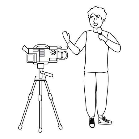 Broadcasting reportage design, News media communication journalism information and digital theme Vector illustration 版權商用圖片 - 133002298