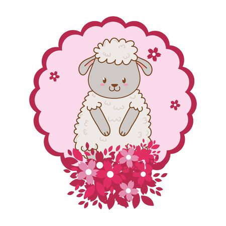 cute little animal sheep flowers frame cartoon vector illustration graphic design Stock Vector - 133001966