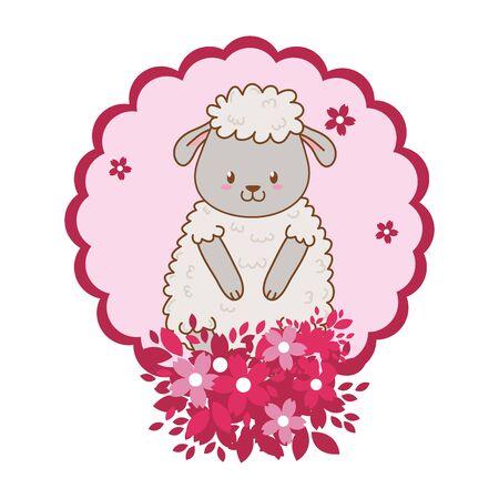cute little animal sheep flowers frame cartoon vector illustration graphic design Illustration