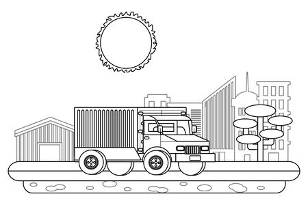 truck in cityscape in black and white