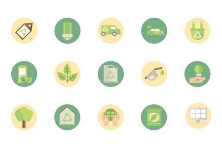 ecological green energy block icons collection Ilustrace
