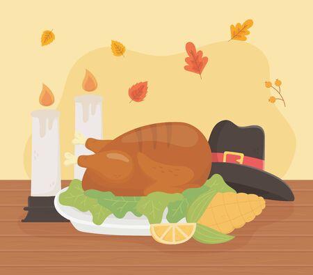 happy thanksgiving roasted turkey hat corn lemon candles celebration